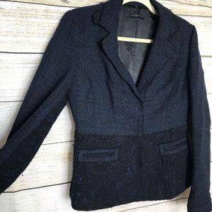 Elie Tahari Navy & Black Tweed and Lace Blazer